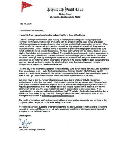 Junior 2020 Sailing Program Notice